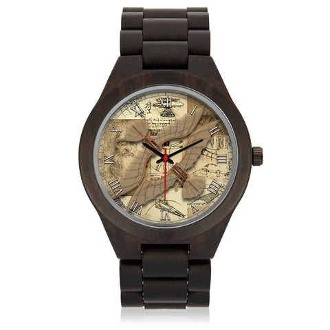 Leonardo Da Vinci • Vitruvian Man Glider - D • Photo Engraved Wood Watch - Design Forms Of Art