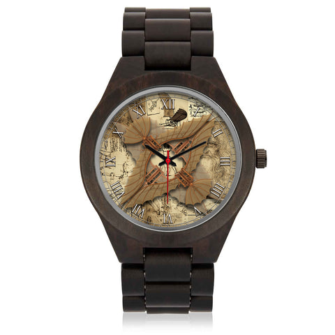 Leonardo Da Vinci • Vitruvian Man Glider - E • Photo Engraved Wood Watch - Design Forms Of Art
