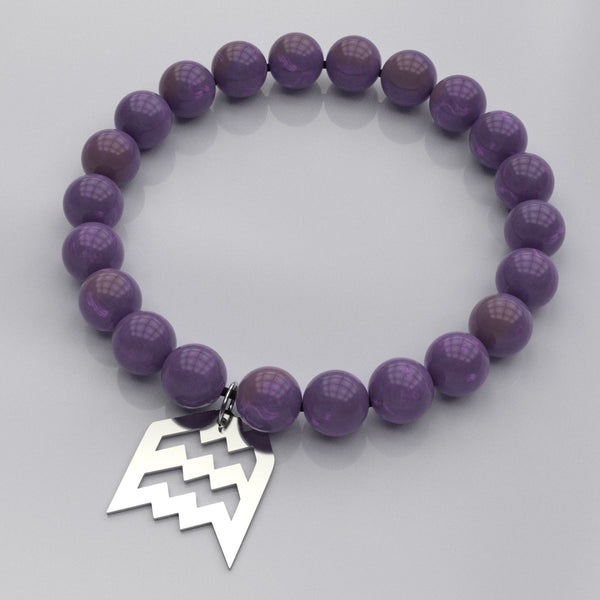 Zodiac AQUARIUS - Air Sign • Bead Stone Bracelet - Design Forms Of Art