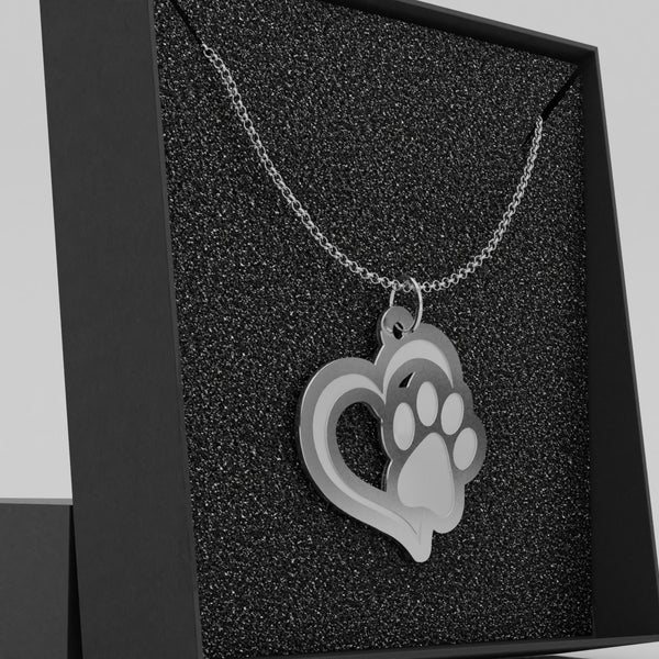 Bowwow Dog Paw Heart Woof 01 • Charms & Chains - Design Forms Of Art
