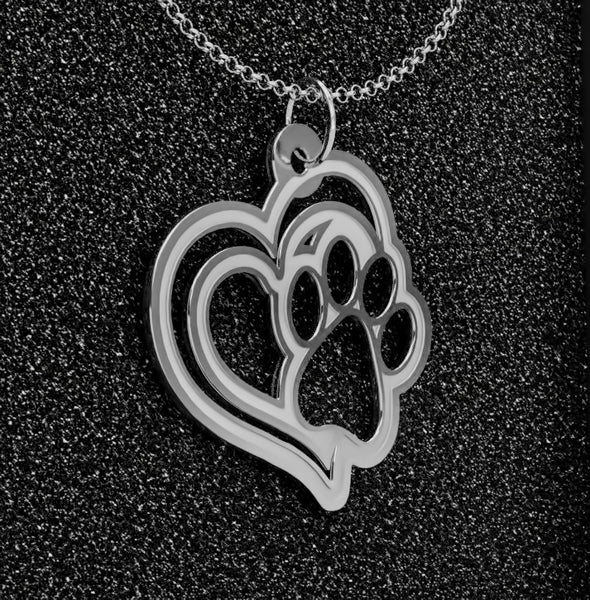 Dog Paw Heart • Charms & Chains • Silver Plated • Free Shipping - Design Forms Of Art