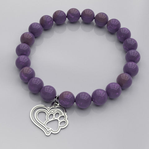 Dog Paw Heart • Bead Stone Bracelet • Free Shipping - Design Forms Of Art