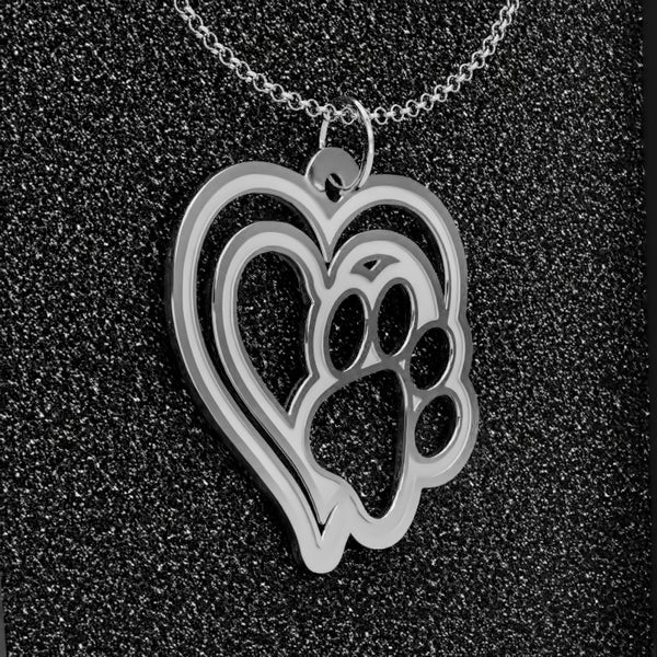 Dog Paw Heart B • Charms & Chains • Silver Plated • Free Shipping - Design Forms Of Art