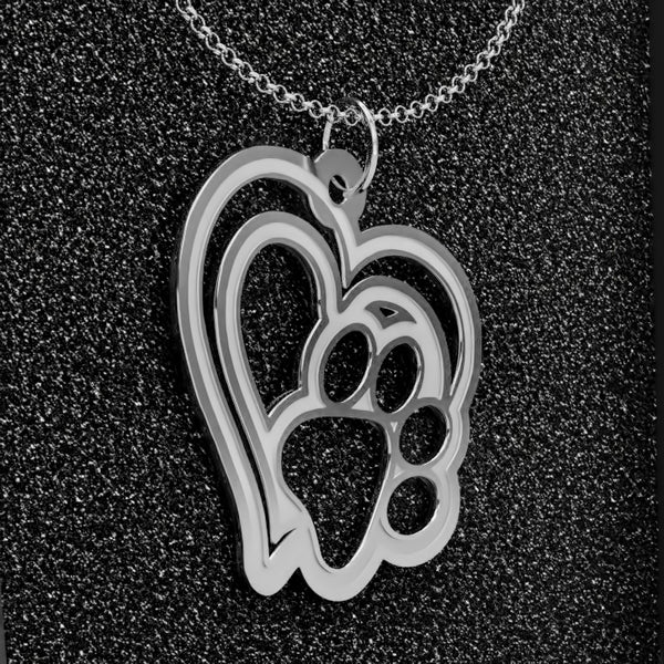 Dog Paw Heart A • Charms & Chains • Silver Plated • Free Shipping - Design Forms Of Art