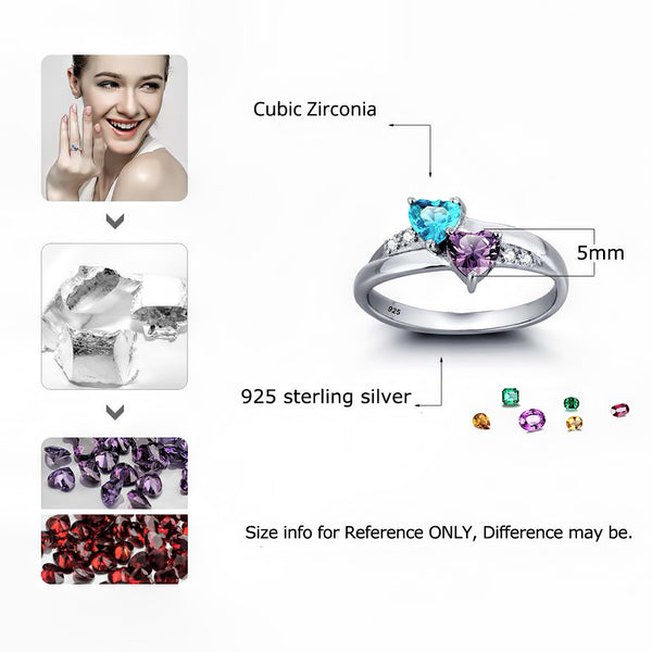 Customized Birthstone Silver Ring A • Free Shipping - Design Forms Of Art
