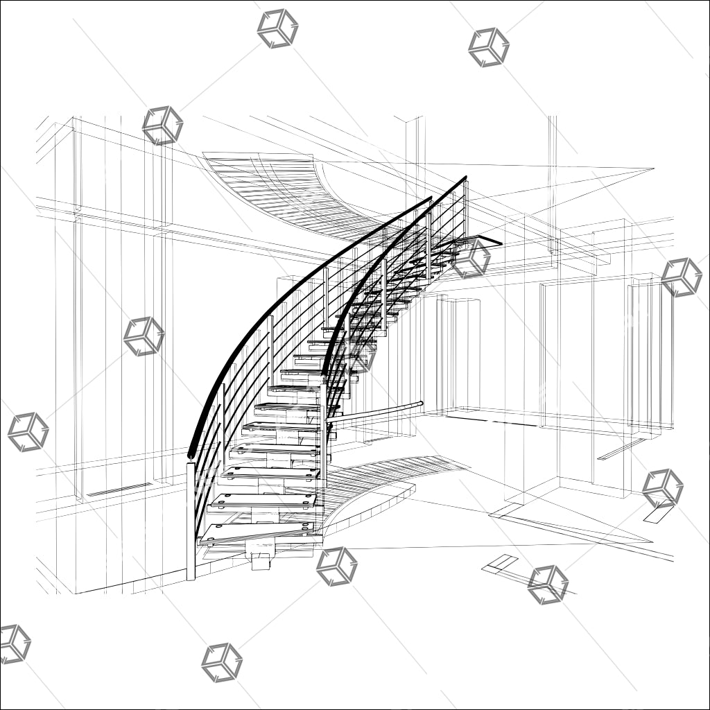 Spiral Staircases Structure Constructions Of Line 01 - Vector - Design Forms Of Art