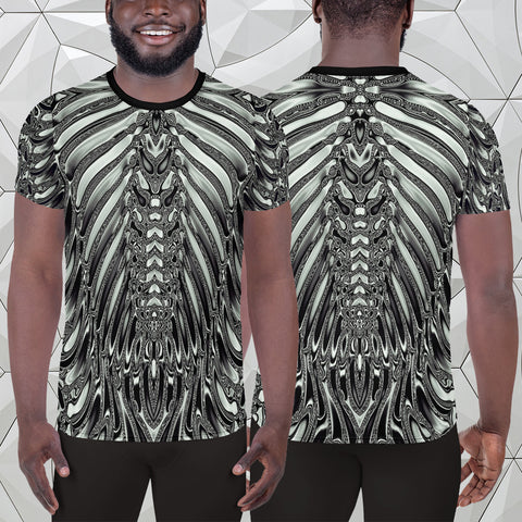 Alien Skeleton Armor | Halloween All-Over Print Men's Athletic T-shirt - Design Forms Of Art