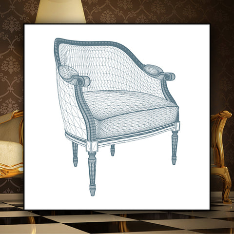 Antique Retro Vintage Armchair  01 - Vector - Design Forms Of Art