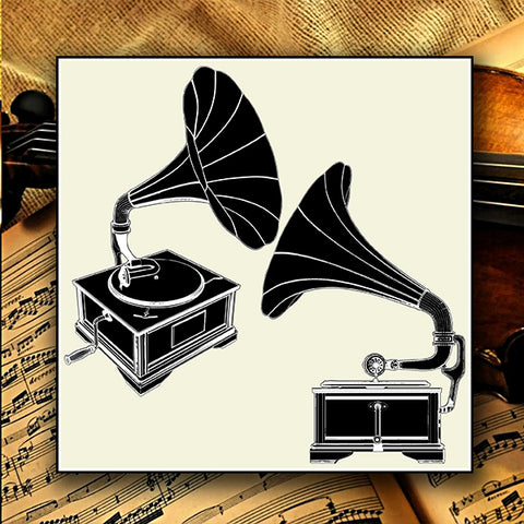 Antique Gramophone Isolated On White Background 01 - Vector - Design Forms Of Art
