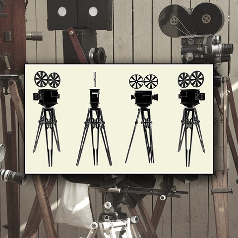 Antique Movie Stand Camera 01 - Vector - Design Forms Of Art