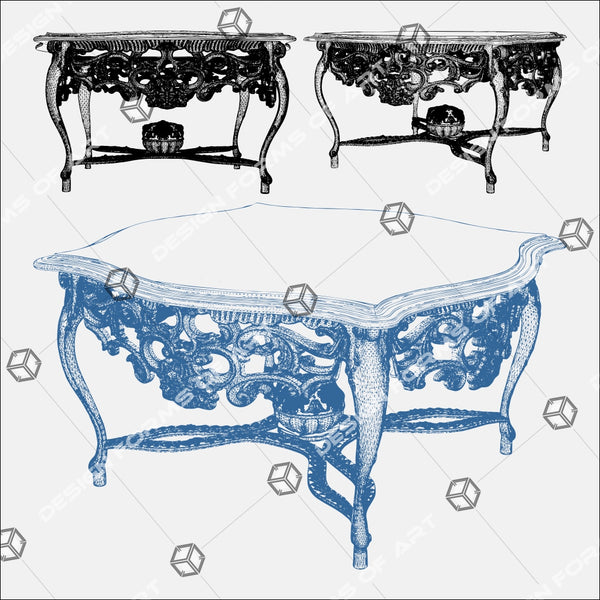 Antique Retro Vintage Table 01 - Vector - Design Forms Of Art