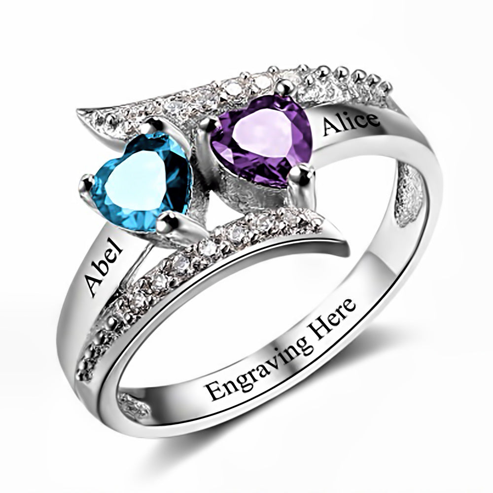 Customized Birthstone Silver Ring B • Free Shipping - Design Forms Of Art