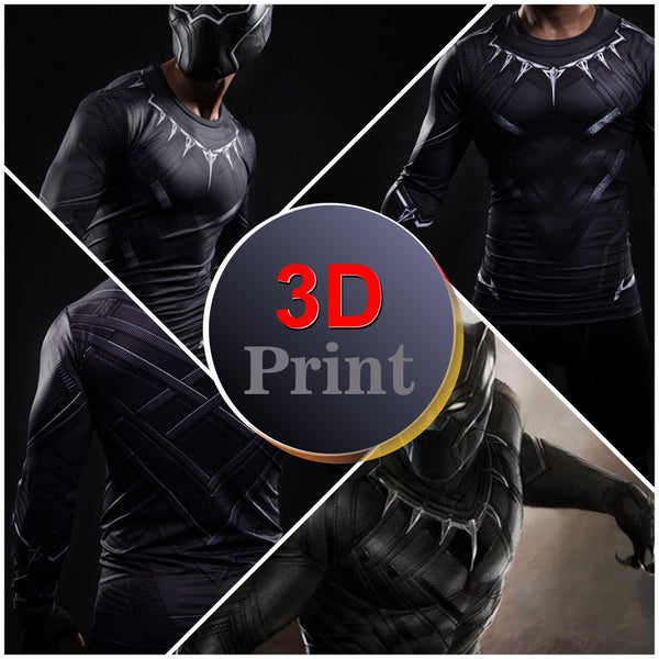 Black Panther Compression Long Sleeve Shirt - Design Forms Of Art
