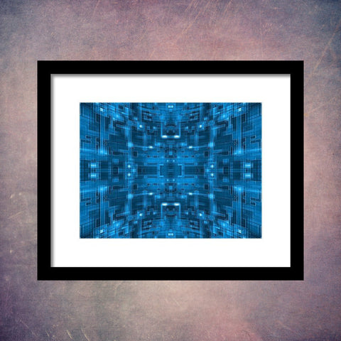 Blue Spherical Tile Circuit - Framed Print - Design Forms Of Art