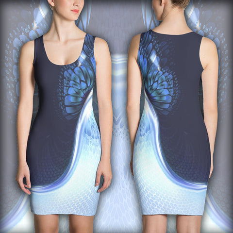 Blue Butterfly - Sublimation Cut & Sew Dress - Design Forms Of Art