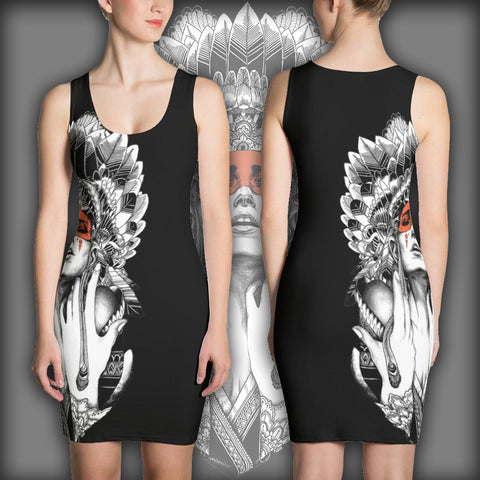 Tribal Woman Chief - Sublimation Cut & Sew Dress - Design Forms Of Art
