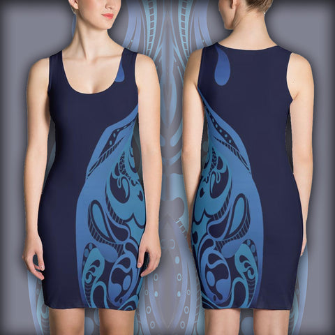 Blue Curving - Sublimation Cut & Sew Dress - Design Forms Of Art