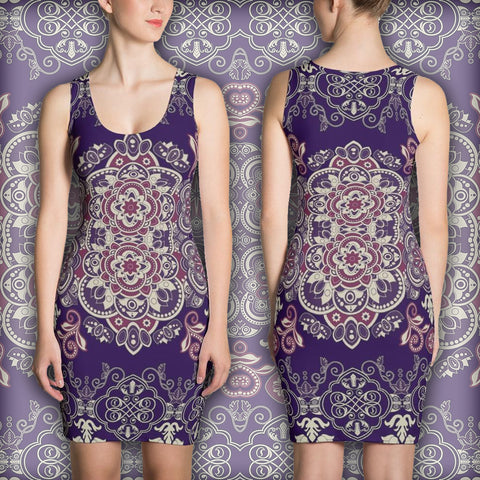 Flowers Purpleallization - Sublimation Cut & Sew Dress - Design Forms Of Art
