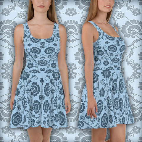 Roses Blueallization - Skater Dress - Design Forms Of Art