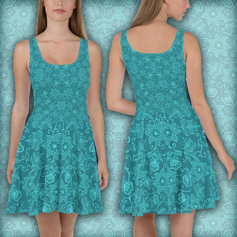 Flowers Green-Blue Lineallization - Skater Dress - Design Forms Of Art