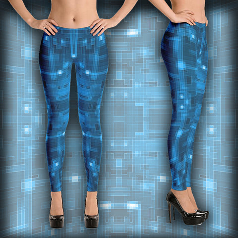 Blue Circuit - Leggings - Design Forms Of Art