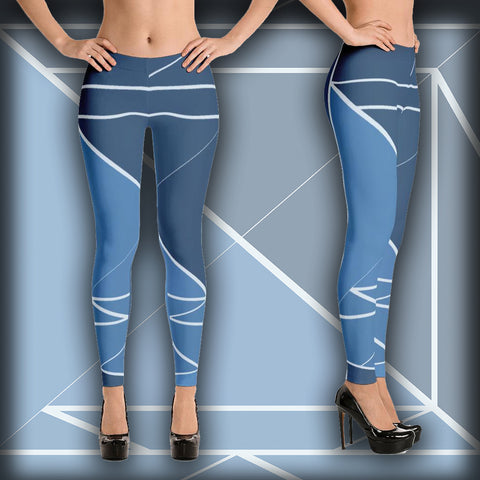 Hipster Blue  - Leggings - Design Forms Of Art