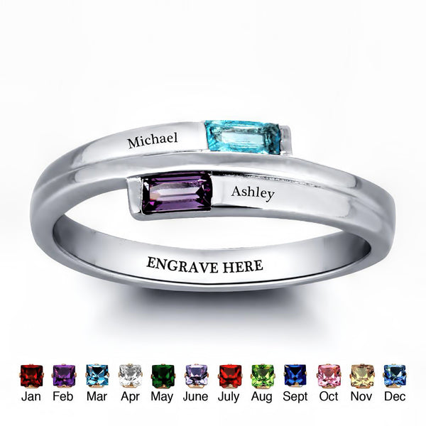 Customized Birthstone Silver Ring C • Free Shipping - Design Forms Of Art