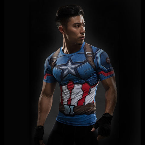 Captain America Compression Shirt - Design Forms Of Art