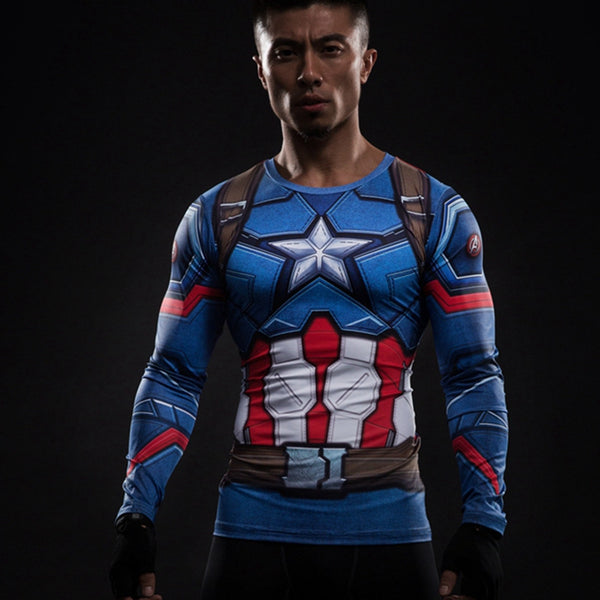 Captain America Long Sleeve Shirt • Free Shipping - Design Forms Of Art
