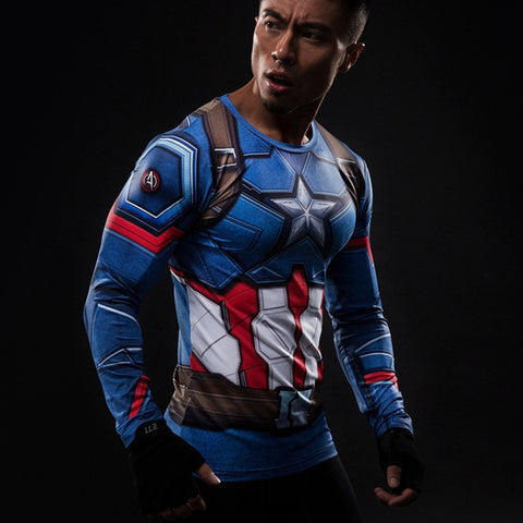 Captain America Long Sleeve Compression Shirt - Design Forms Of Art