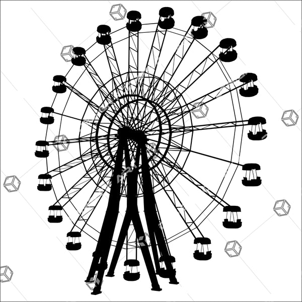 Carousel Silhouette Illustration Isolated On White Background 01 - Vector - Design Forms Of Art