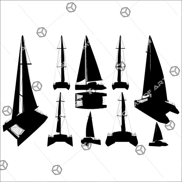 Catamaran Boat Silhouettes 01 - Vector - Design Forms Of Art