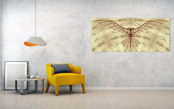 Leonardo Da Vinci Flying Machine Under Parchment - Art Print - Design Forms Of Art