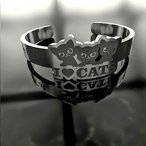 Cat • I Love Cats - Custom RING - 02 - Design Forms Of Art