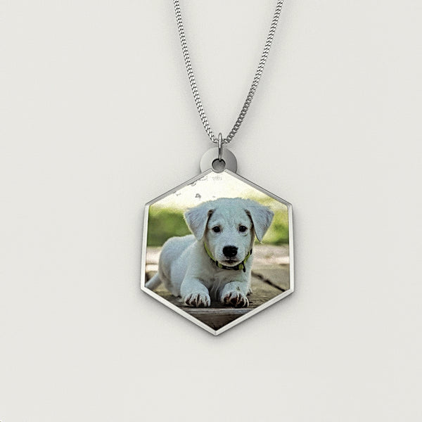 Personalized Pet Photo Engraved NECKLACE • Hexagon - Design Forms Of Art