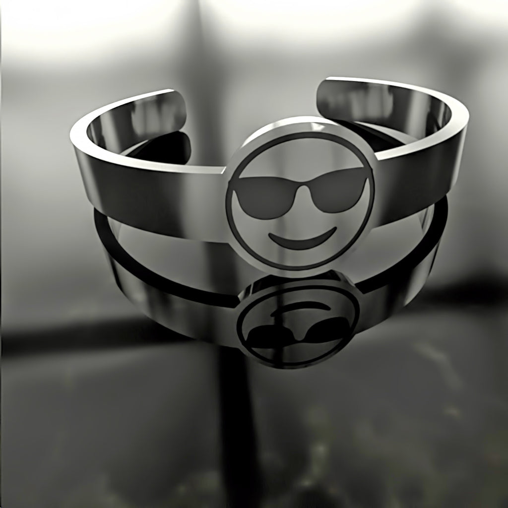 Emoji • Smiling Face With Sunglasses - Custom RING - Design Forms Of Art