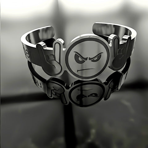 Custom RING - Emoji • Rock And Roll Angry Face With Horns Hands - Design Forms Of Art