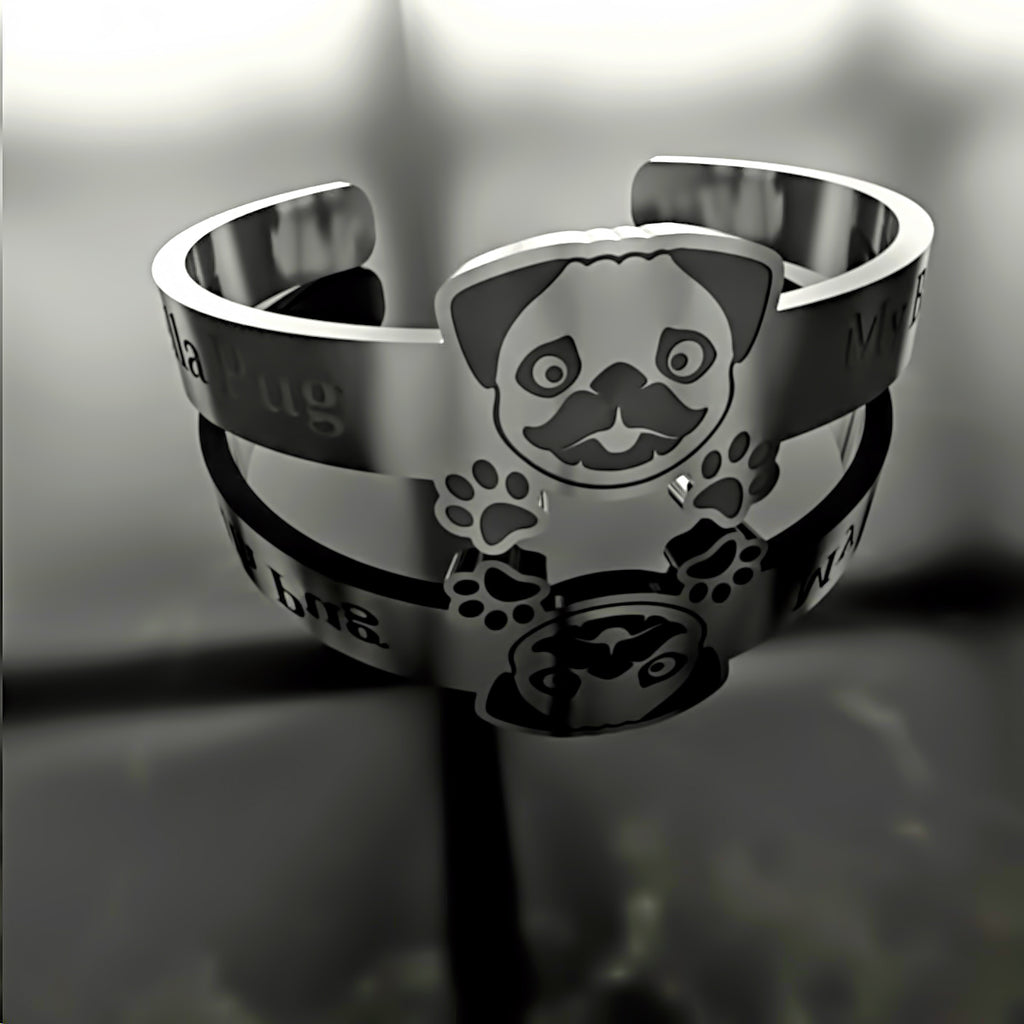 Dog • Pug Puppy - Custom RING - 01 - Design Forms Of Art