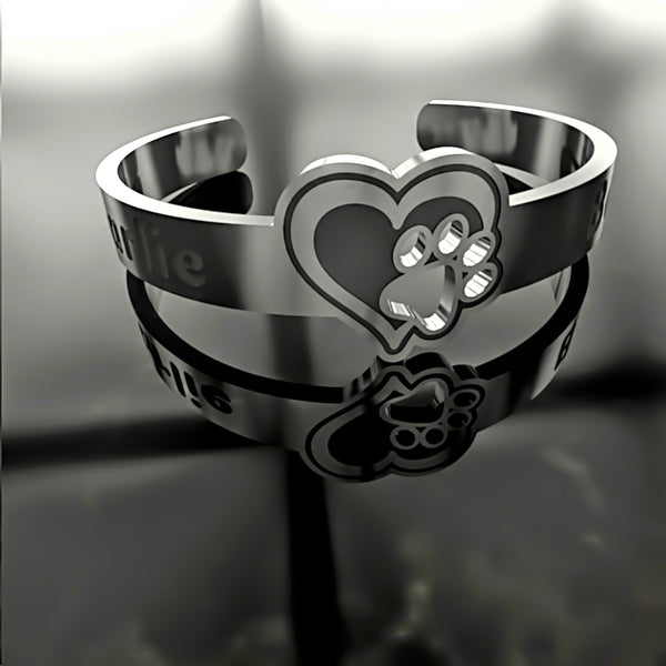 Custom RING - Dog Paw In Your Heart - A • Free Shipping - Design Forms Of Art