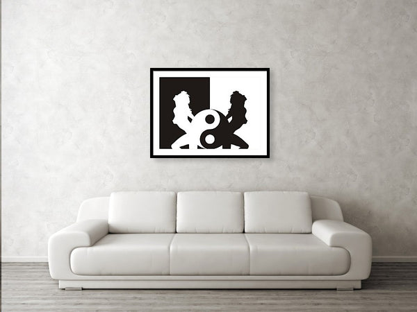 Woman Erotic Silhouette In Ying Yang - Framed Print