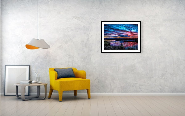 Clouds Blazing Sunset - Painting - Framed Print - Design Forms Of Art