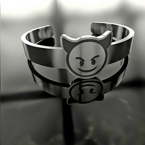 Emoji • Angry Face With Horns - Custom RING - Design Forms Of Art