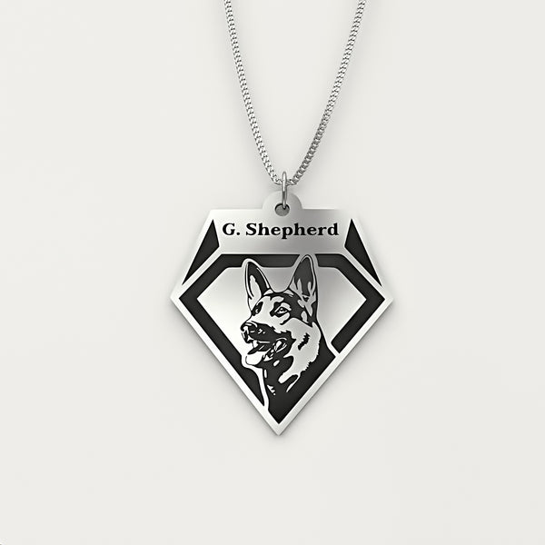 Personalized Dog Engraved Name NECKLACE • German Shepherd - Design Forms Of Art