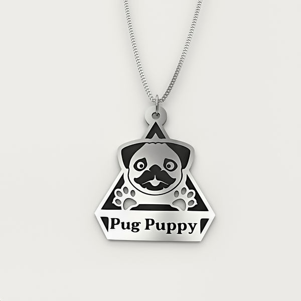 Personalized Dog Engraved Name NECKLACE •  Pug Puppy - Design Forms Of Art