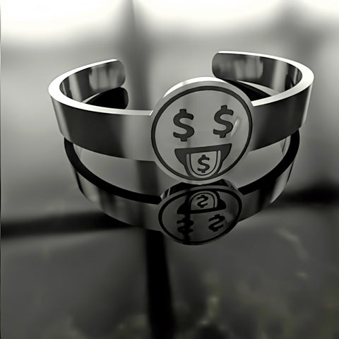 Emoji • Greedy Money Dollar Cash Face - Custom RING - Design Forms Of Art
