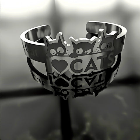 Cat • I Love Cats - Custom RING - 03 - Design Forms Of Art
