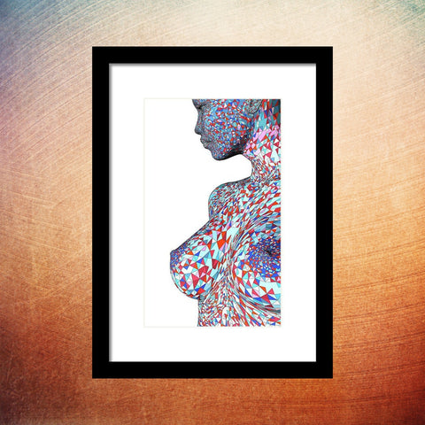 Colorful Beautiful Nude Young Woman - Framed Print - Design Forms Of Art