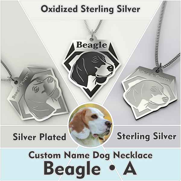 Personalized Dog Engraved Name NECKLACE • Beagle - Design Forms Of Art