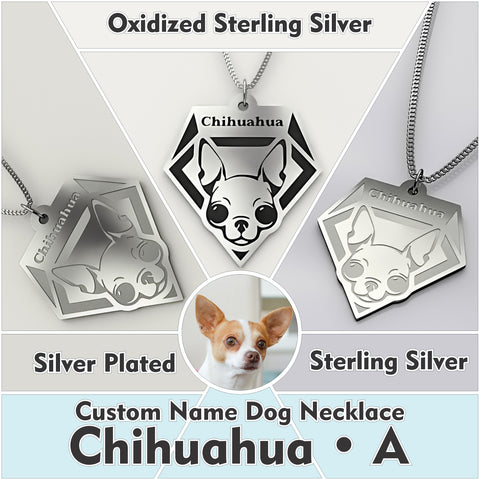 Personalized Dog Engraved Name NECKLACE • Chihuahua - Design Forms Of Art