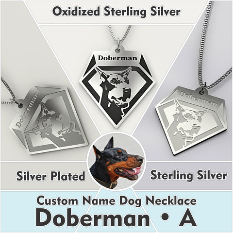 Personalized Dog Engraved Name NECKLACE • Doberman - Design Forms Of Art